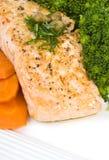 Faixa Salmon com molho da alcaparra e do aneto Foto de Stock