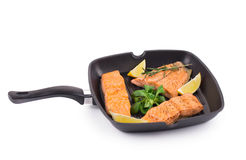 Faixa salmon fritada Foto de Stock