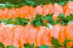 Faixa salmon fumada cortada Fotografia de Stock Royalty Free