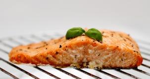 Faixa salmon grelhada na grade, foco macio Foto de Stock Royalty Free