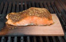 Faixa Salmon no fumo da prancha do cedro que cozinha no BBQ Fotografia de Stock