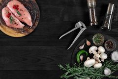 Faixas cruas do peito de frango na placa de corte de madeira com ervas e especiarias Vista superior com espaço da cópia Fotos de Stock Royalty Free