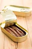 Faixas das anchovas na lata de estanho Imagens de Stock Royalty Free