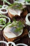 Faixas de arenques no pão da grão Imagem de Stock Royalty Free
