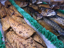 Faixas de peixes fumado no mercado de Grandville, ilha de Grandville, Vancôver, Columbia Britânica, Canadá Fotos de Stock