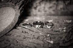 Faixas e anel de noivado de casamento Fotografia de Stock Royalty Free
