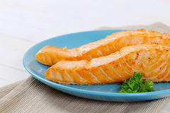 Faixas salmon Roasted fotografia de stock