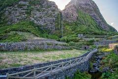 Fajã grande sull'isola del Flores in Azzorre, Portogallo Fotografie Stock