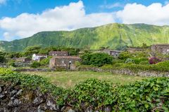 Fajã Grande on the island of Flores in the Azores, Portugal Royalty Free Stock Photos