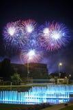 Fajerwerków above - wodna fontanna Obraz Royalty Free
