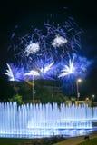 Fajerwerków above - wodna fontanna Zdjęcie Royalty Free
