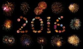 Fajerwerków wybuchy Układający w 2016 Obrazy Stock