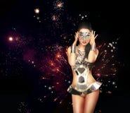 fajerwerk Kobieta nad Świątecznym Backrgound w Teatralnie kostiumu Obraz Stock
