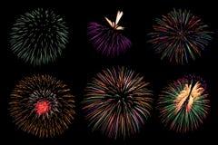 Fajerwerk kolekcja i set kolorowi fajerwerki zaświecamy na b fotografia stock