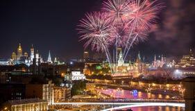 fajerwerk Kremlin Moscow blisko Obrazy Stock