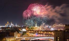 fajerwerk Kremlin Moscow blisko Fotografia Royalty Free