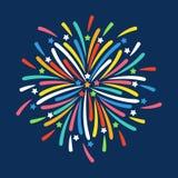 Fajerwerk kształtuje kolorową świąteczną wektorową ikonę Obrazy Royalty Free