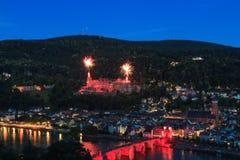 Fajerwerk nad sławnym kasztelem Heidelberg fotografia royalty free