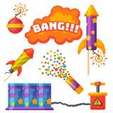 Fajerwerk pirotechnika rakiety i podlotka przyjęcia urodzinowego prezent świętują wektorowych ilustracyjnych festiwali/lów narzęd ilustracja wektor