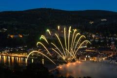 Fajerwerk przy starym mostem Heidelberg fotografia stock