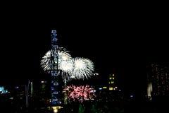 Fajerwerki dla święta państwowego w Singapur Obraz Royalty Free