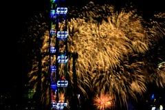 Fajerwerki dla święta państwowego w Singapur Obraz Stock