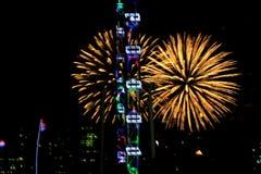 Fajerwerki dla święta państwowego w Singapur Zdjęcia Stock