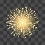 fajerwerki Festiwalu złota fajerwerk Wektorowy llustration na przejrzystym tle royalty ilustracja
