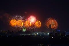 Fajerwerki na 70th zwycięstwo dniu na placu czerwonym na Maju 9 Obrazy Royalty Free