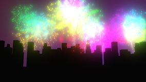 Fajerwerki nad miasto nocą ilustracji