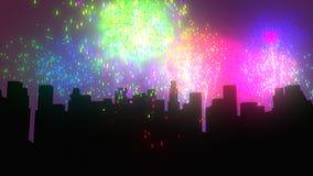 Fajerwerki nad miasto nocą royalty ilustracja