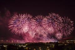 Fajerwerki nad nocą Moskwa, Zdjęcie Royalty Free