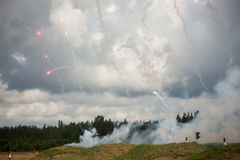 Fajerwerki nad rosyjskim lasem Obraz Stock