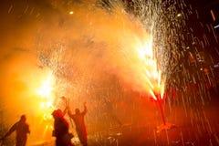 Fajerwerki, ogień i dym, obrazy stock