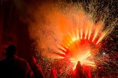 Fajerwerki, ogień i dym, obraz royalty free