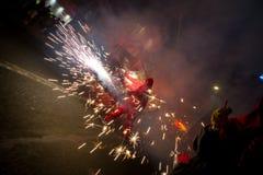 Fajerwerki, ogień i dym, fotografia stock