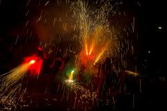 Fajerwerki, ogień i dym, zdjęcia stock