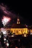 Fajerwerki przy końcówką Węgierscy Kulturalni dni Cluj miasto obrazy stock