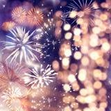 Fajerwerki przy nowego roku i kopii przestrzeni? - abstrakcjonistyczny wakacyjny t?o zdjęcie stock