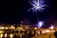 Fajerwerki przy nowym rokiem w Pisek Obrazy Stock