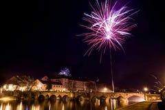 Fajerwerki przy nowym rokiem w Pisek Zdjęcia Royalty Free