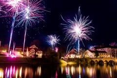 Fajerwerki przy nowym rokiem w Pisek Fotografia Stock