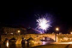 Fajerwerki przy nowym rokiem w Pisek Obrazy Royalty Free
