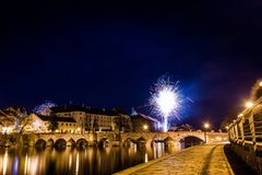 Fajerwerki przy nowym rokiem w Pisek Zdjęcie Royalty Free