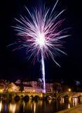 Fajerwerki przy nowym rokiem w Pisek Fotografia Royalty Free