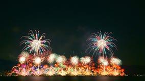 Fajerwerki w jeziornym Biwa, Otsu, Shiga, Japonia Obraz Royalty Free