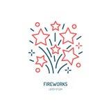 Fajerwerki wykładają ikonę Wektorowy logo dla wydarzenie usługa Liniowa ilustracja petardy Fotografia Stock