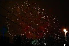 Fajerwerki z czerwonym niebem obrazy royalty free