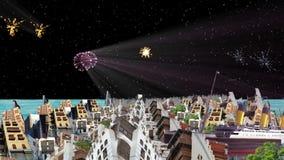 Fajerwerki z Starym i nowym Jeddah royalty ilustracja