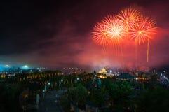 Fajerwerku świętowanie w Królewskim Parkowym Rajapruek, Chiangmai, Thailan Zdjęcie Royalty Free
